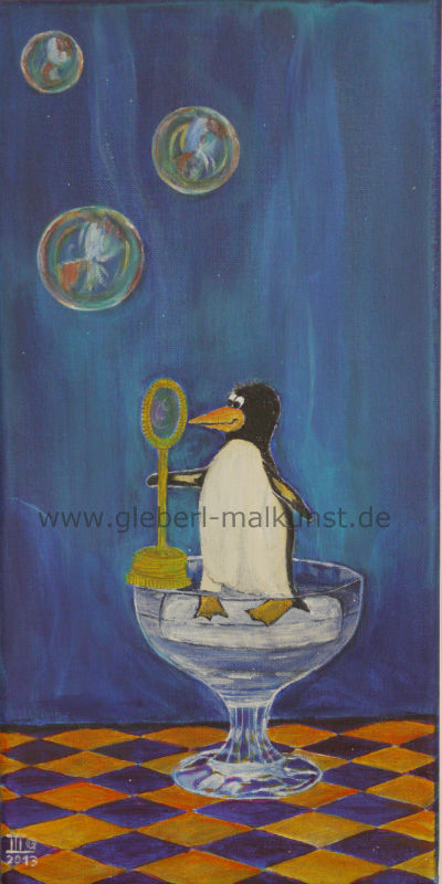 Pinguin on the Rocks - Acryl - 20x40 cm, € 125,-